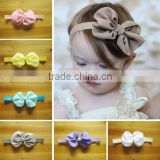 2014 New Design Multi-colors Kids Baby Flower Fabric Hair Bands Headband for Girls