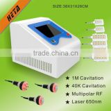 Face Lifting  Guangzhou HETA Multi-Function Cavitation+RF System Laser Beauty Equipment For Fat Dissloving Eye Line Removal