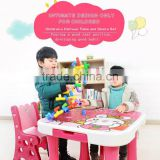 Popular design children's plastic furniture kids adjustable study writing table and chairs set