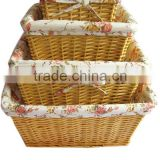 4-piece natural white empty wicker storage basket wedding for egg,candy and other sundries with floral lining & liner