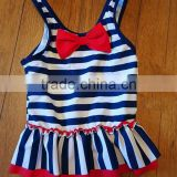 Blue and white stripes one piece suit baby swimwear with a bowknot