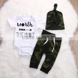 S17479A 2017 Army Green Newborn Baby Boy Clothes Romper T-Shirt Long Pants And Hat Outfits