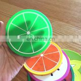 Chinese soft pvc manufacture customize fruit design rubber cup mat coaster with advertising logo