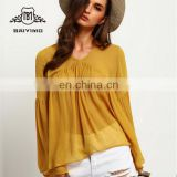 Latest Designs Streetwear Style Women Shirts Yellow Bell Sleeve Round Neck Ruffle Casual Blouse