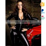 China Manufacturer Cheap Zipper PVC Black Leather Corset Bodysuit