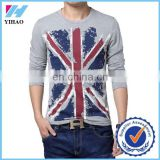 Large Size Men T Shirt 5XL Flag Printing Design T-shirt Men Long Sleeve Fashion European American Style Camisetas Gray White