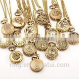 Wholesale korea variety style long chain bronze quartz pocket watch