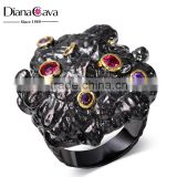 Top Fashion 2016 Chunky Colorful Bezel Setting CZ Brass Black Gold Finger Ring