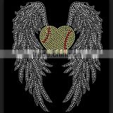 Heart Softball with angel wings Iron On transfers Rhinestone Garments Accessories Hotfix Custom Designs