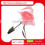 Hot hair clips wholesale China fashion pink flower feather hairpins