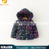 2015 Top Quality Elegant Girl Winter Outwear Baby Girl Thick Warm Jacket With Full Butterfly Printed