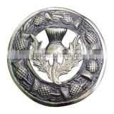 Scottish Thistle Design Piper Plaid Brooch In Antique Finish Made Of Brass Material