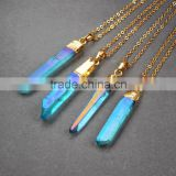 Fashion angel aura quartz point pendant, opal plated blue crystal healing crystal charms pendant