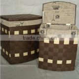 wholesale decorative handmade woven paper rectangular wood laundry basket with lid and liner
