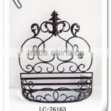 LC-76163 Antique Metal Decorative Wall Hanging Half Round Basket