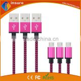 OEM high quality braided usb cable for iphone ,for samsung tab,for micro usb data and charging