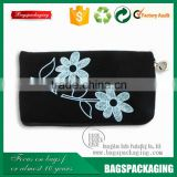 bulk beautiful flower printing zipper velvet cosmetic pouch
