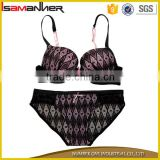 Transparent sexy ladies lace overlay push up padded hot sexy latest bra & panty
