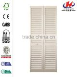 30 in. x 80 in. 30 in. Plantation Louvered Solid Core Painted White Wood Interior Closet Bi-fold Door