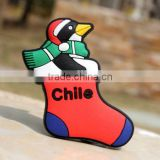 Big discount Custom Permanent adhesive magnet,Chile Christmas Penguin 3d fridge magnet sticker,pvc magnet clip ---DH20348