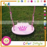 Kids toy single swing,Crown pattern wood round swing seat children swing