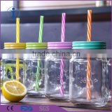 2016 hottest products colorful juice/beverage glass mason jar with lid for straw                                                                         Quality Choice