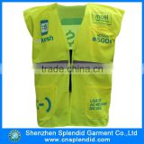 bulk high quality customied logo 3m lime green safety vest