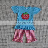 Wholesale apple embroidery stripe shorts baby girl back to school ruffle cotton boutique outfits