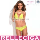 RELLECIGA Lace Bikini Series - Hot Dots + Neon Yellow Lace Brazilian Bikini Set with Triangle Top and Scrunch Bottom