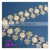 fabric / Polyester/ Material and Home Textile / OEM / Garment / Shoes / Bags Use flower pattern lace trim