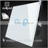 Wallpad LED Backlight Waterproof White Crystal Glass 110~250V 2 Gang 2 way Touch Screen Light Control Electrical Wall Switch