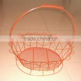 Hot Sell Durable metal Fruit Basket with Handle/fruit basket with net cover/decoration wire fruit basket(made in guangzhou)