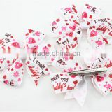 Beautiful Kid Girls Christmas Snowman Bow Hairpin Bulk Christmas Ribbon Hair Bow With Clip For Teenage