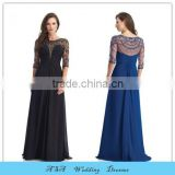 Plus Size Chiffon Sexy Mother of Bride Long Evening Dress Black Beaded Mother of the Bride Dresses Sheer Sleeve 2015(MM854)