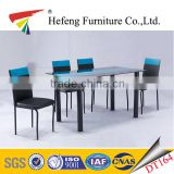 New! modern black and blue painting tempered glass top dining table set with plastic legs