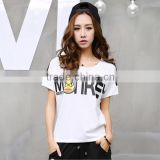 Wholesale 2016 Summer Fashion Women Sport T-Shirt Ladies Cute Raglan Short Sleeve Slim Gel Printed New Model T Shirts