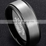 Custom cobalt free Men's Black Tungsten Carbide Engagement Ring Wedding Band Center Brushed Wire Edge Step