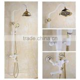 2016 Newly US wall mounted White Painting Baked bath&Shower Faucet Set Rain 8 inch Shower Head With Brass Handle Shower Golden
