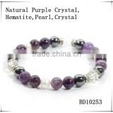 2014 new product vogue jewelry fashion natural gemstones bracelet purple crystal hematite pearl beads China supplier wholesale