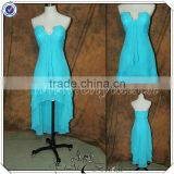 PP2713 Front Short Long Back Beaded Blue Chiffon Dress For Bridesmaid