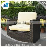 Outdoor Furniture Palm Outdoor Sofa Patio Garden Rattan Wicker Arm Chair Rattan Sofa With Cushion Brown Aluminum Frame