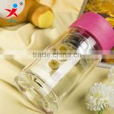 Double female with cover glass Office screen portable with thick transparent glass tea cup