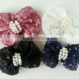 CF0359 2013 New handmade custom wholesale pearl center sequin bow for hair