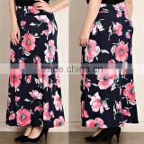 Latest Formal Skirt Blouse Matching Flower Patterns Polyester Floral Print Maxi Plus Size Fat Women Long Skirt For Ladies