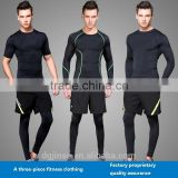 The new tight sports suit quick-drying running t-shirt shorts and leggings three-piece mens fitness tracksuit