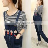 Maternity spring new pregnant women overalls / Korean fashion pregnant women jeans overalls / Spring and Autumn prop belly pants