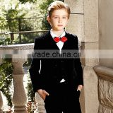 Slim fit black Velvet plain seat boys formal suit