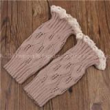 Women Girls Winter Leg Warmers Down Boot Cuffs Lace Trim Gaiters Boot Socks Crochet Leg Warmers Short Knit Leg Warmers