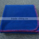 blue color with embroidery brand logo airline blanket travel on plane fire proof blanket