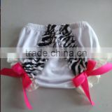 2015Hot Sale Cute Cotton Baby Bloomer With Ruffles Kids Shorts Baby Diaper Cover For Infants Zebra Bloomers Child Bloomers